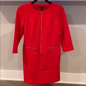 Ann Taylor Red Gold Zip Dress